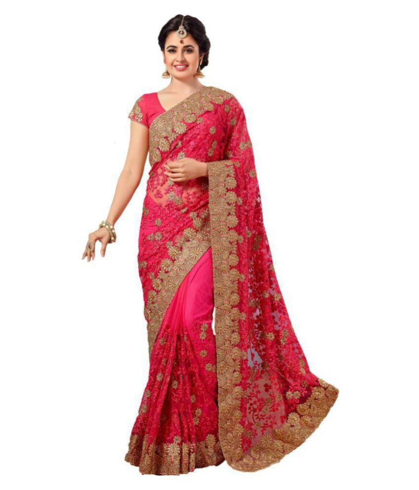 Designer Bahu Red and Beige Net Saree