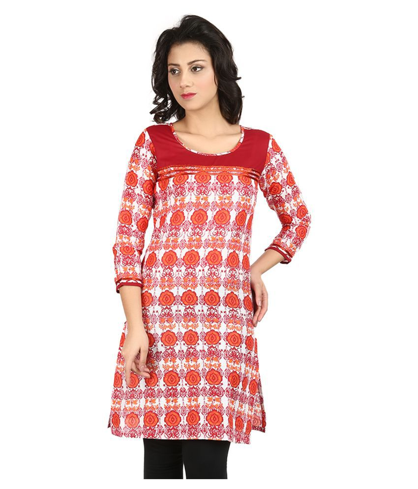 Vaijyanti Red Cotton A-line Kurti