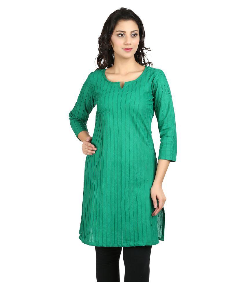 Vaijyanti Green Cotton A-line Kurti