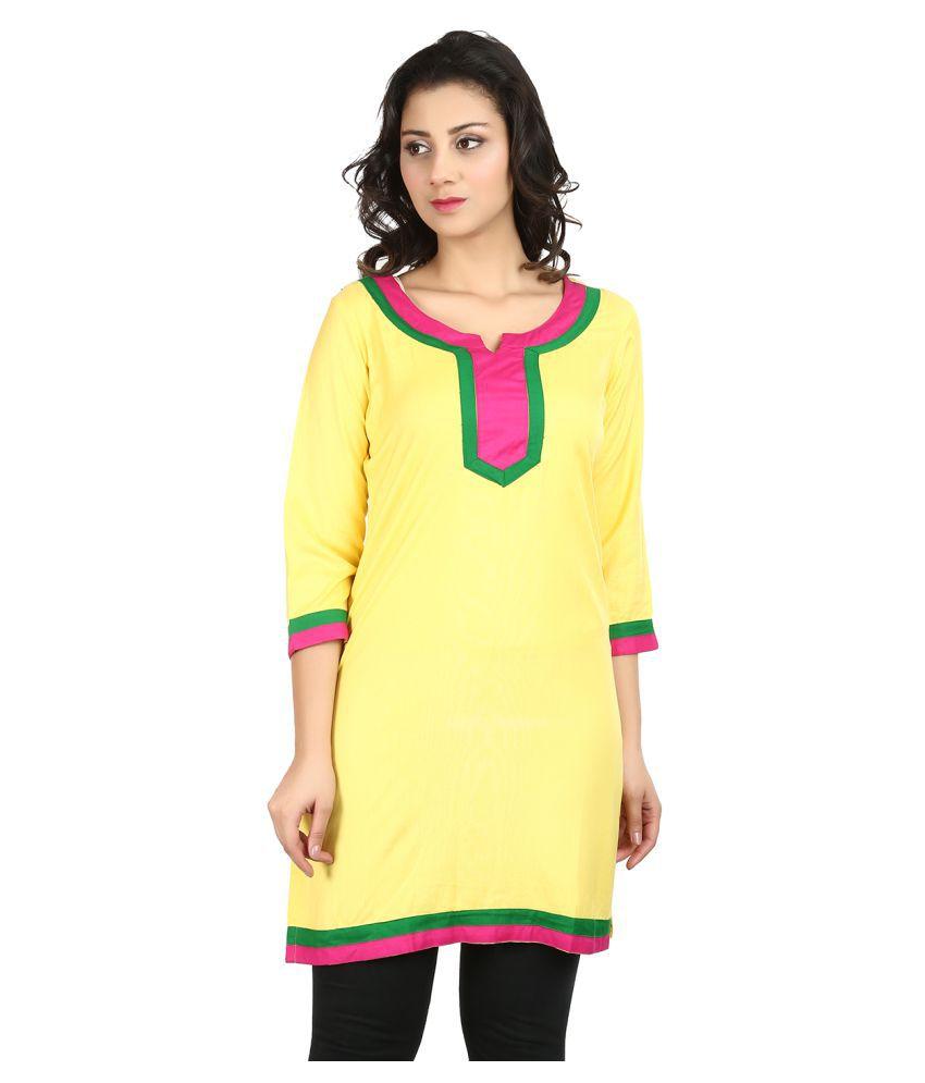 Vaijyanti Yellow Rayon A-line Kurti