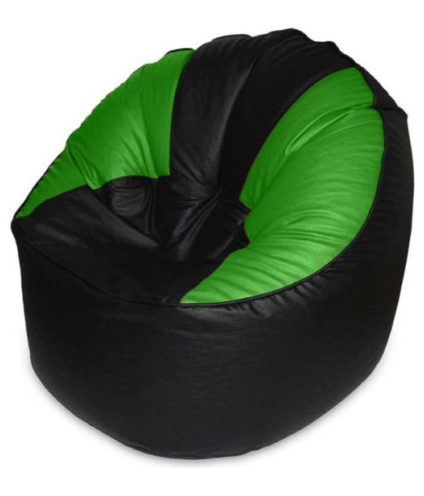 Groovy Madaar Homez Artificial Leather Sofa Mudda Black Green Bean Bag Cover Jumbo Creativecarmelina Interior Chair Design Creativecarmelinacom