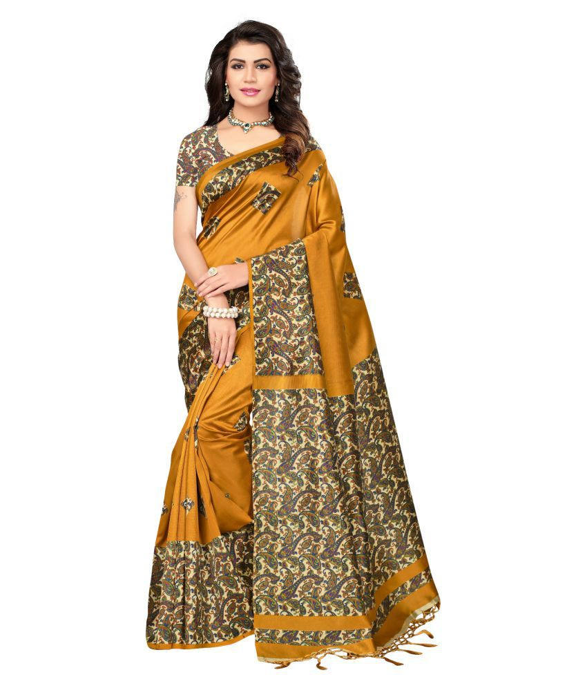 975b302803 HashTag Fashion Yellow and Brown Cotton Silk Saree - Buy HashTag Fashion  Yellow and Brown Cotton Silk Saree Online at Low Price - Snapdeal.com