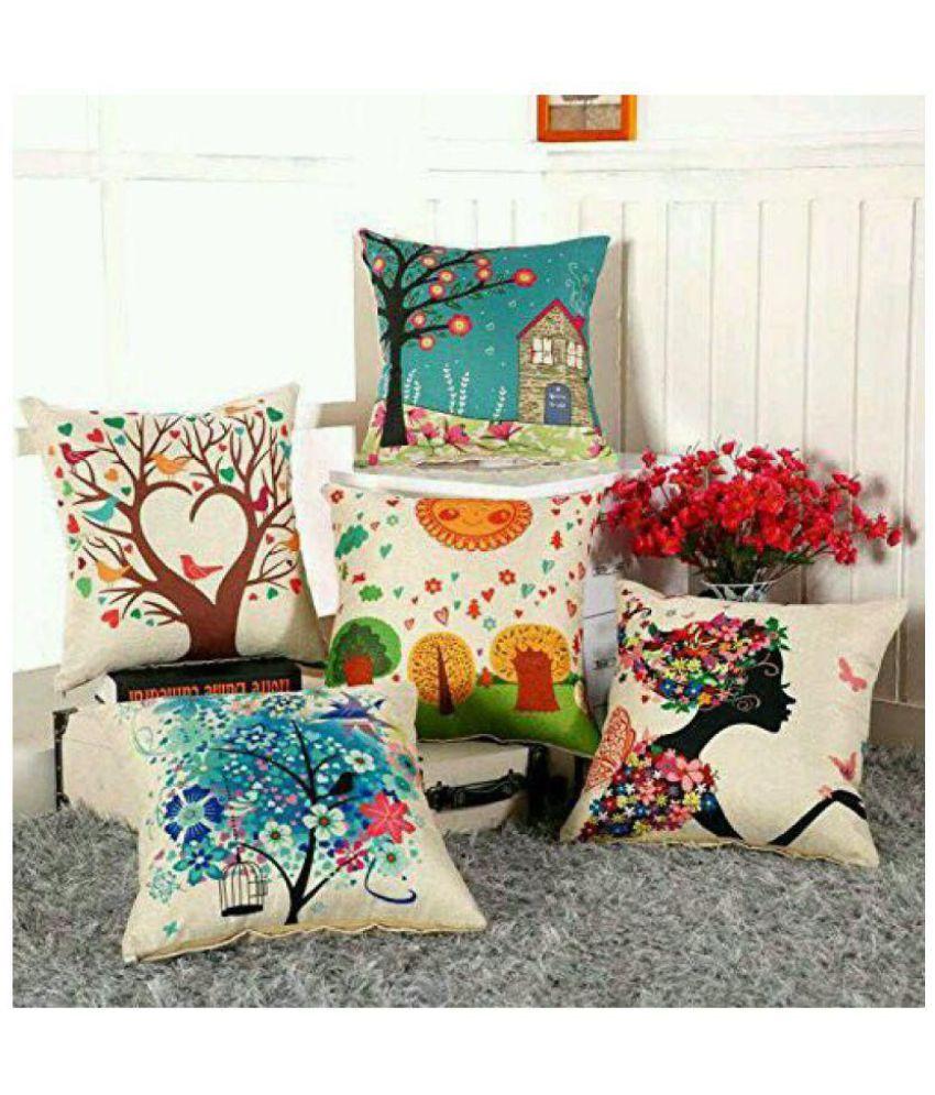 Swiss India Set of 5 Jute Cushion Covers 40X40 cm (16X16)