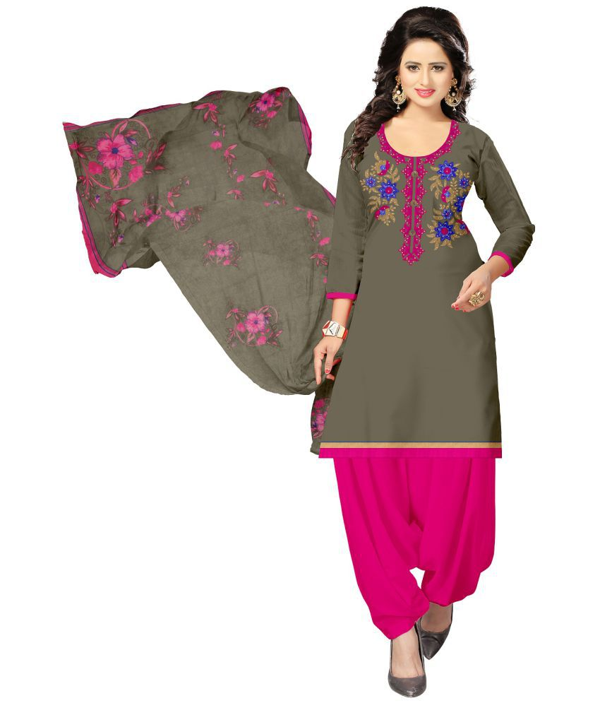 Udaan Pink Satin Dress Material