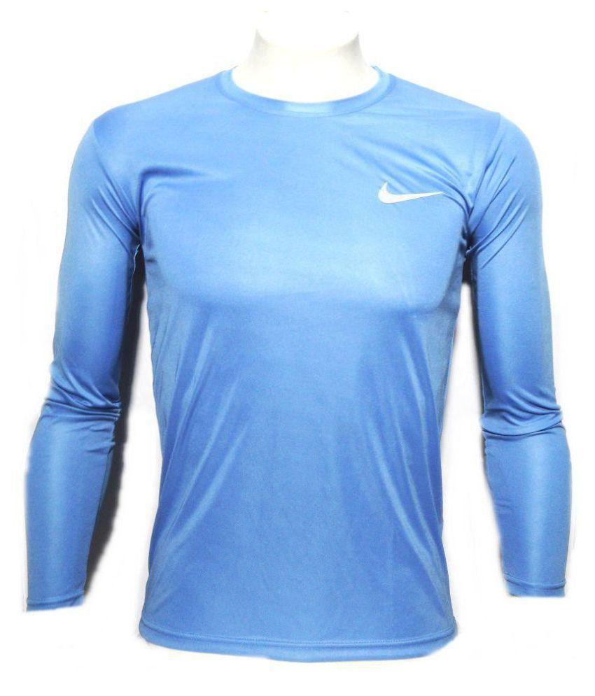 Nike Sky Blue Polyester Lycra T-Shirt