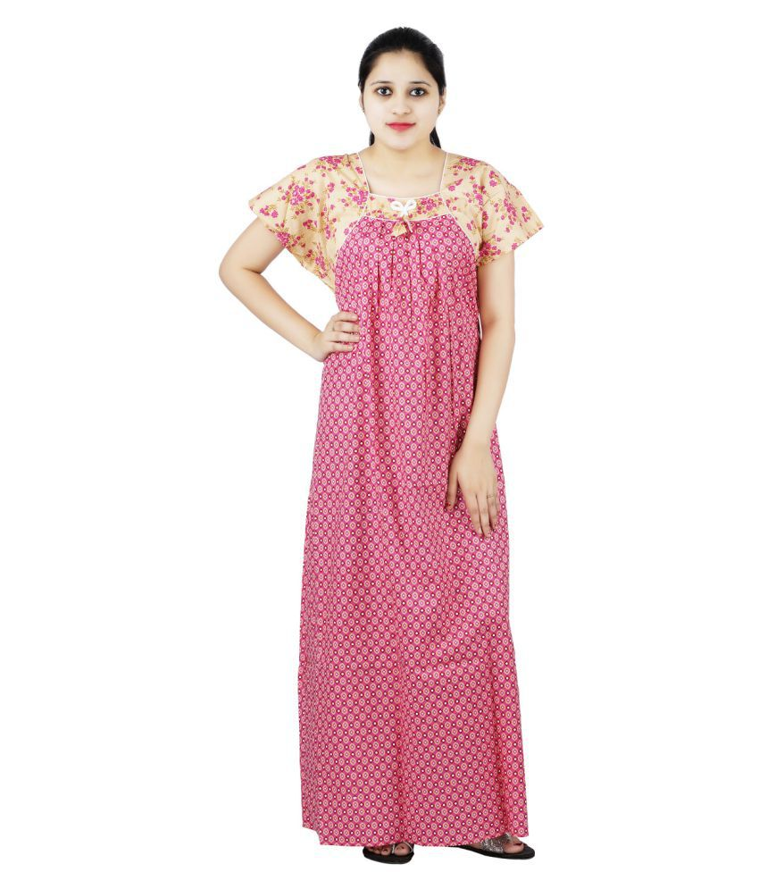 OSF Cotton Nighty & Night Gowns - Pink