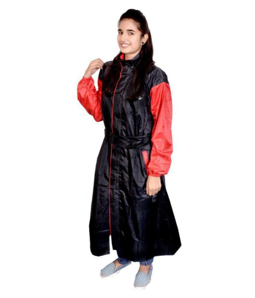 AD & AV Waterproof Long Raincoat - Black