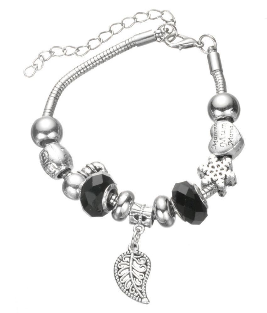 Kamalife Fashion Womens Girls Colored Glaze Pandoras DIY String Beads Bracelet Pink Alloy