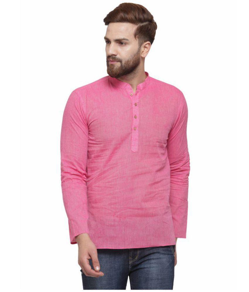 RG Designers Pink Cotton Kurta Single