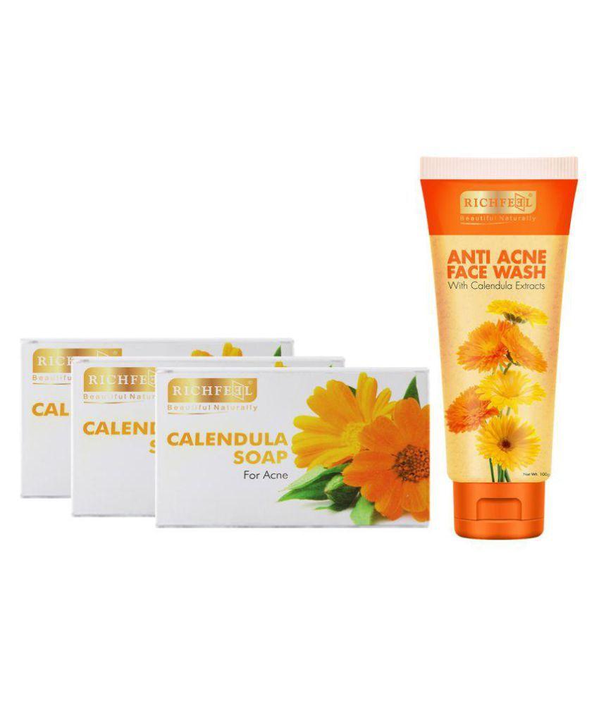 Richfeel Calendula Soap Pack 3 Soaps + 1 Calendula Face Wash Free Face Wash 325 gm
