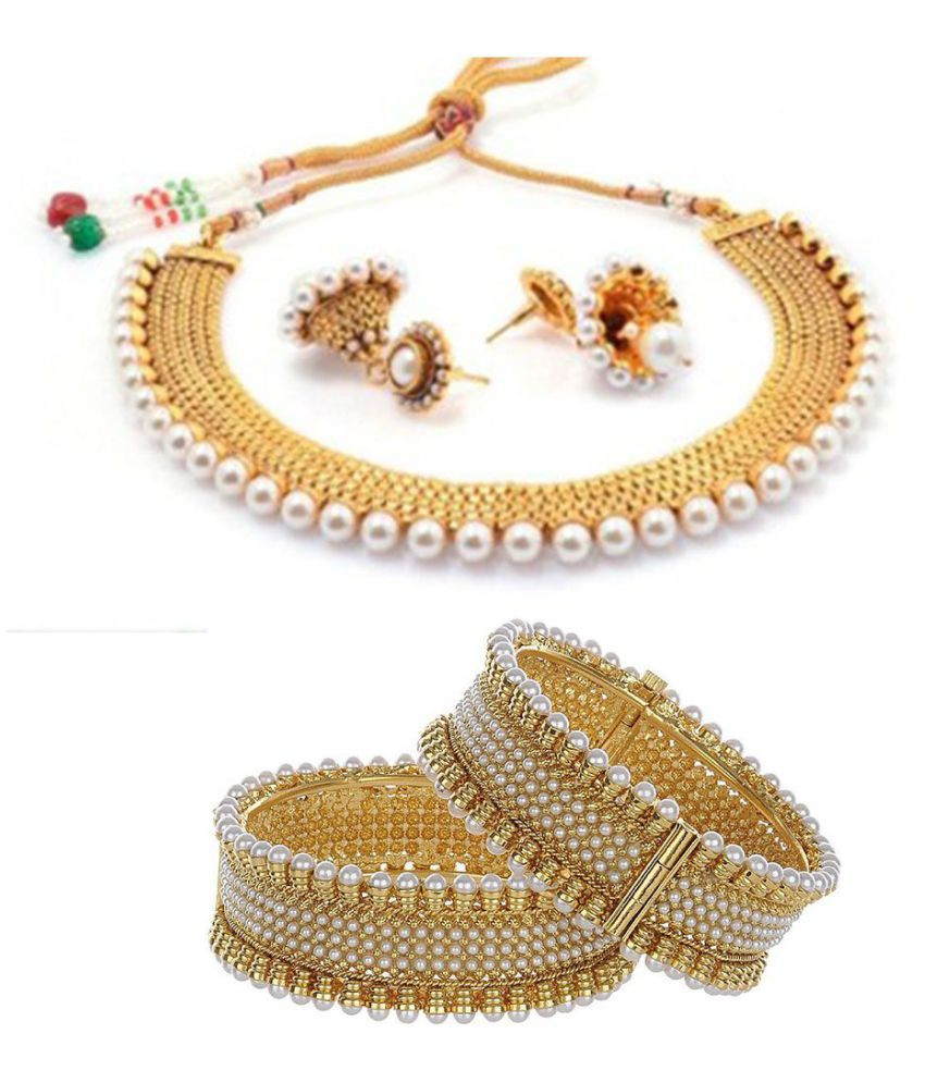 Zeneme Traditional Gold Plated Wedding Necklace Set   Bangle Set Jewellery  For Womens   Girls  Buy Zeneme Traditional Gold Plated Wedding Necklace Set  ... 2bcb560b07