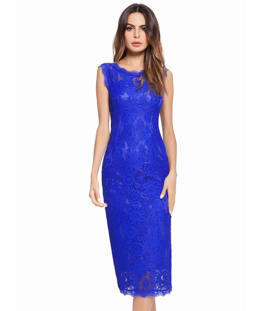 Kamalife Polyester Blue Regular Dress