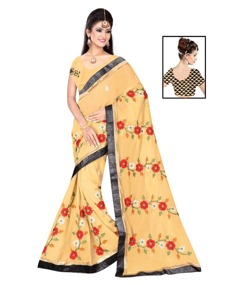 Khatu Shyam Yellow and Beige Georgette Saree