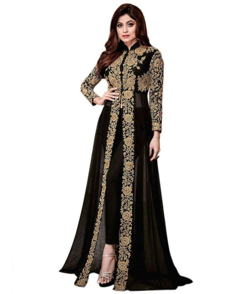f022aad91b Salwar Soul Black and Beige Georgette Anarkali Semi-Stitched Suit - Buy  Salwar Soul Black and Beige Georgette Anarkali Semi-Stitched Suit Online at  Best ...