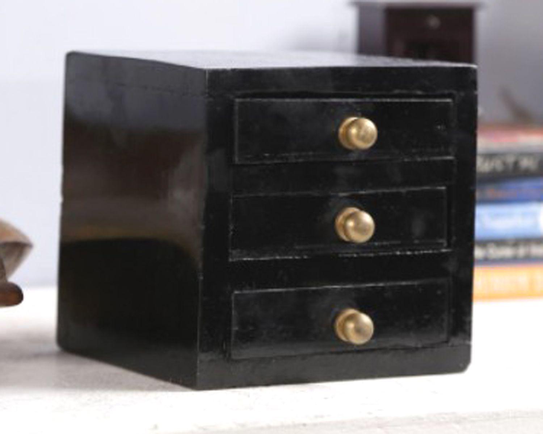 Abani Handicrafts Black Color Wooden Box With 3 Drawers  5X5X5 aoj 06