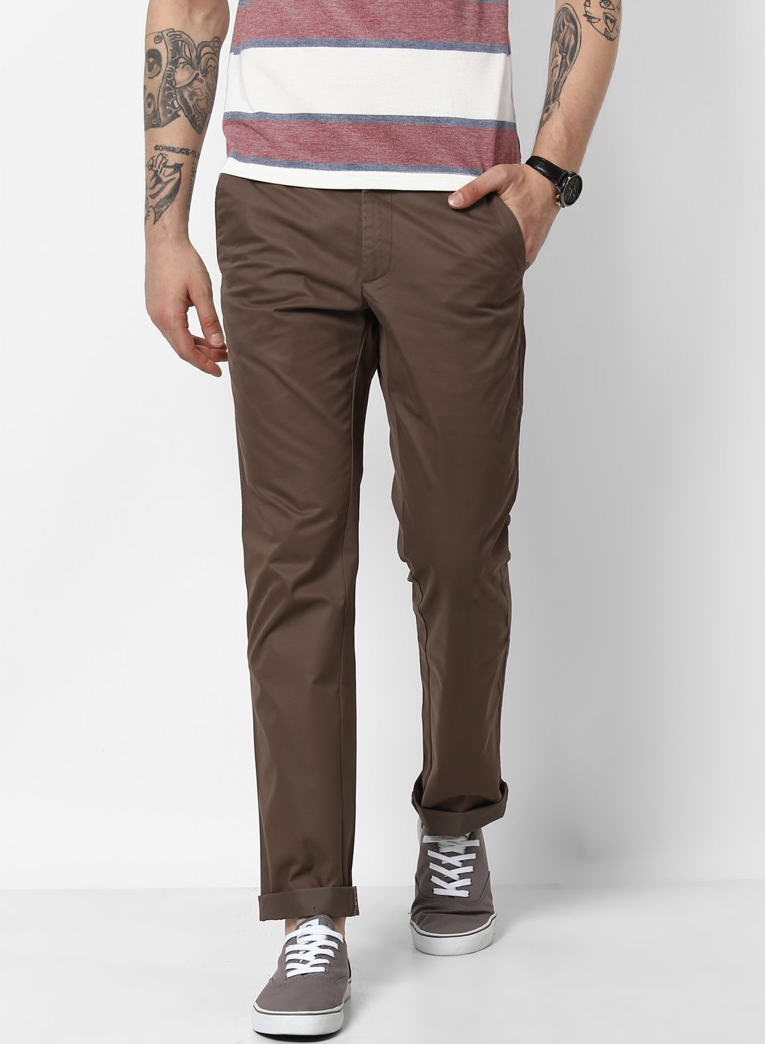 Monte Carlo Grey Regular -Fit Flat Trousers