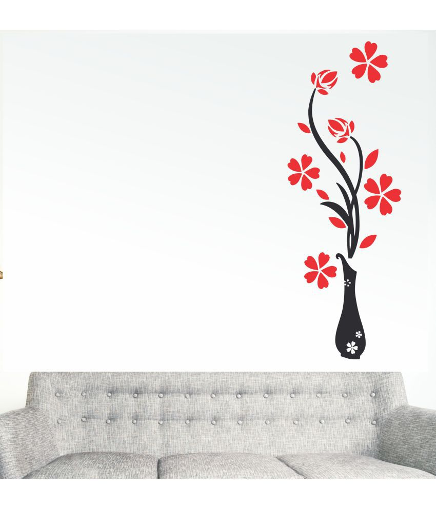 wall dreams Flower wash Nature Sticker ( 70 x 25 cms )