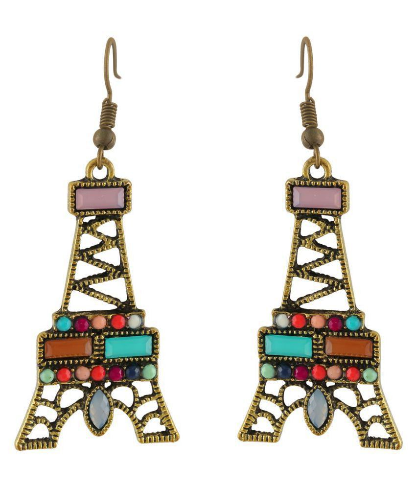 The Bling Stores Antique gold multi color crystal eiffel tower drop earring