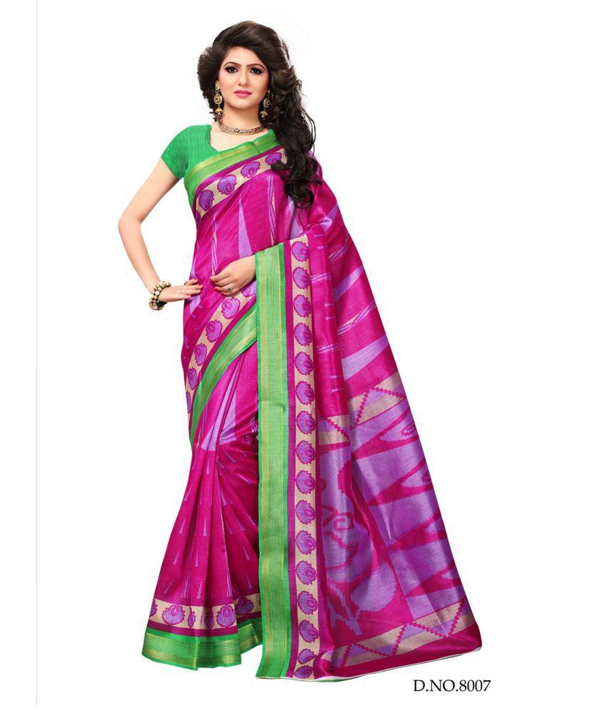 Active Pink Cotton Silk Saree