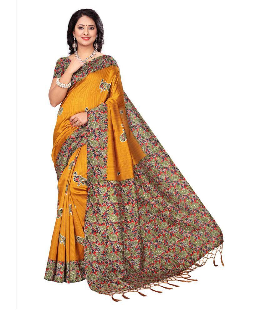 Aika Yellow Tussar Silk Saree