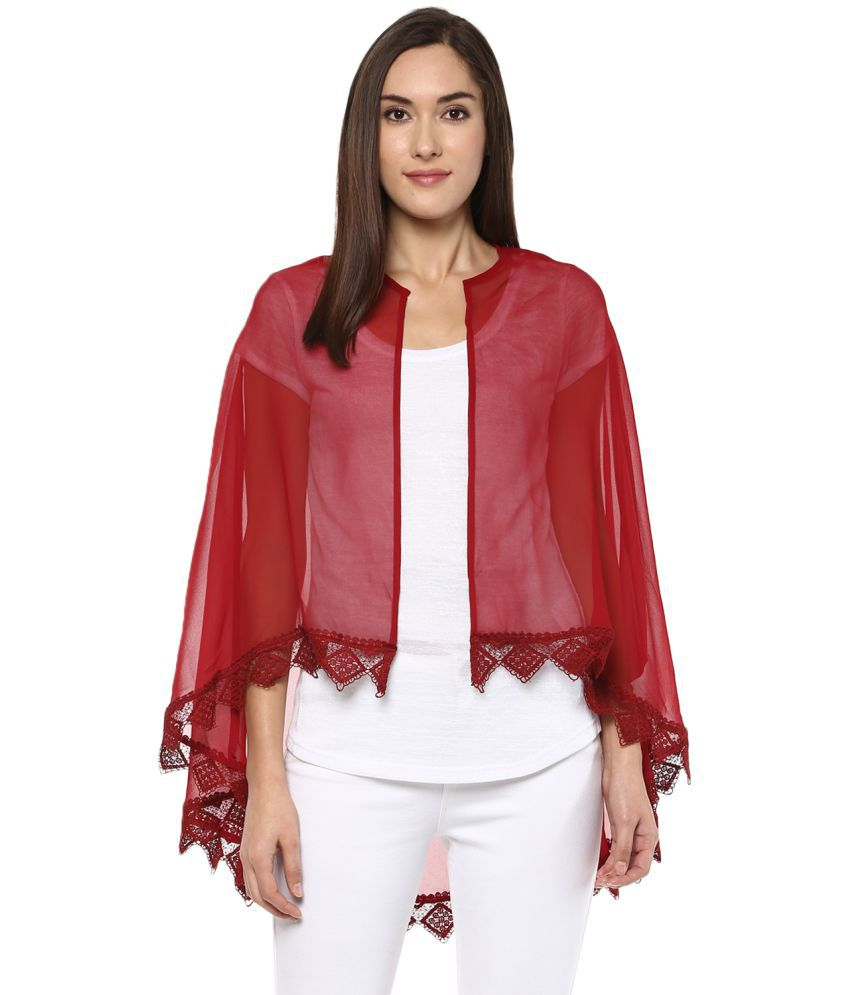 Fusion Beats Polyester Blend Shrugs - Maroon