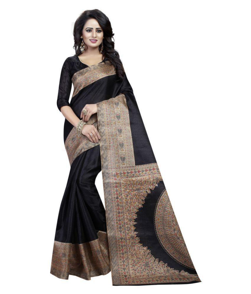 Krishna Emporia Black Cotton Silk Saree