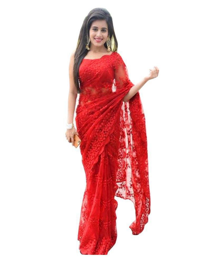 3f1f5c913c Manjula Feb Red Net Saree - Buy Manjula Feb Red Net Saree Online at Low  Price - Snapdeal.com