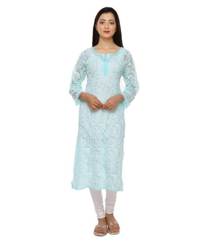 Ada Blue Georgette Straight Kurti