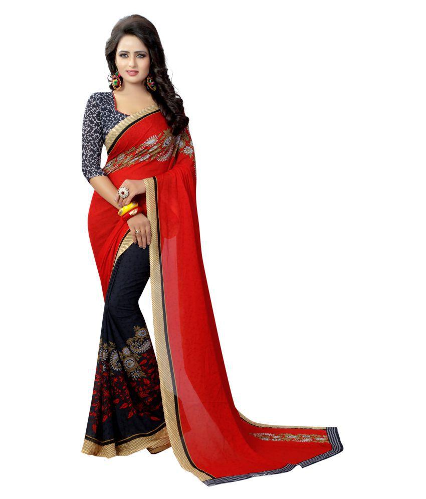 INDIATELLME Red and Brown Silk Saree