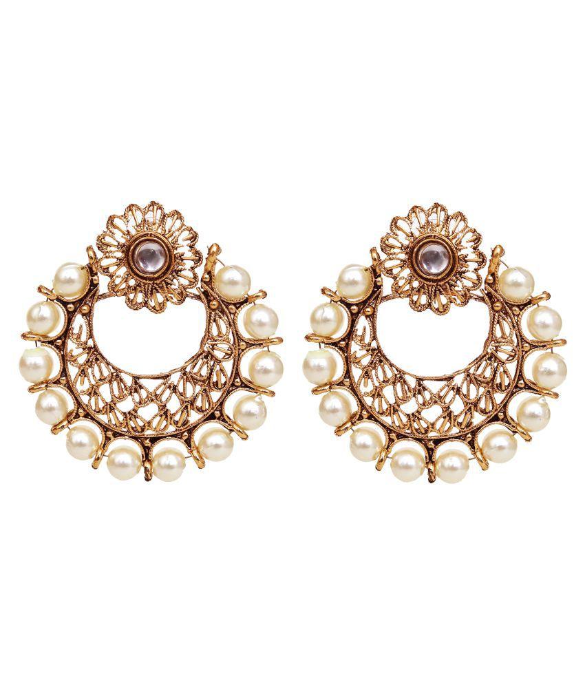Jewelcents 9306 Chandbali Pearl Jaali Earrings