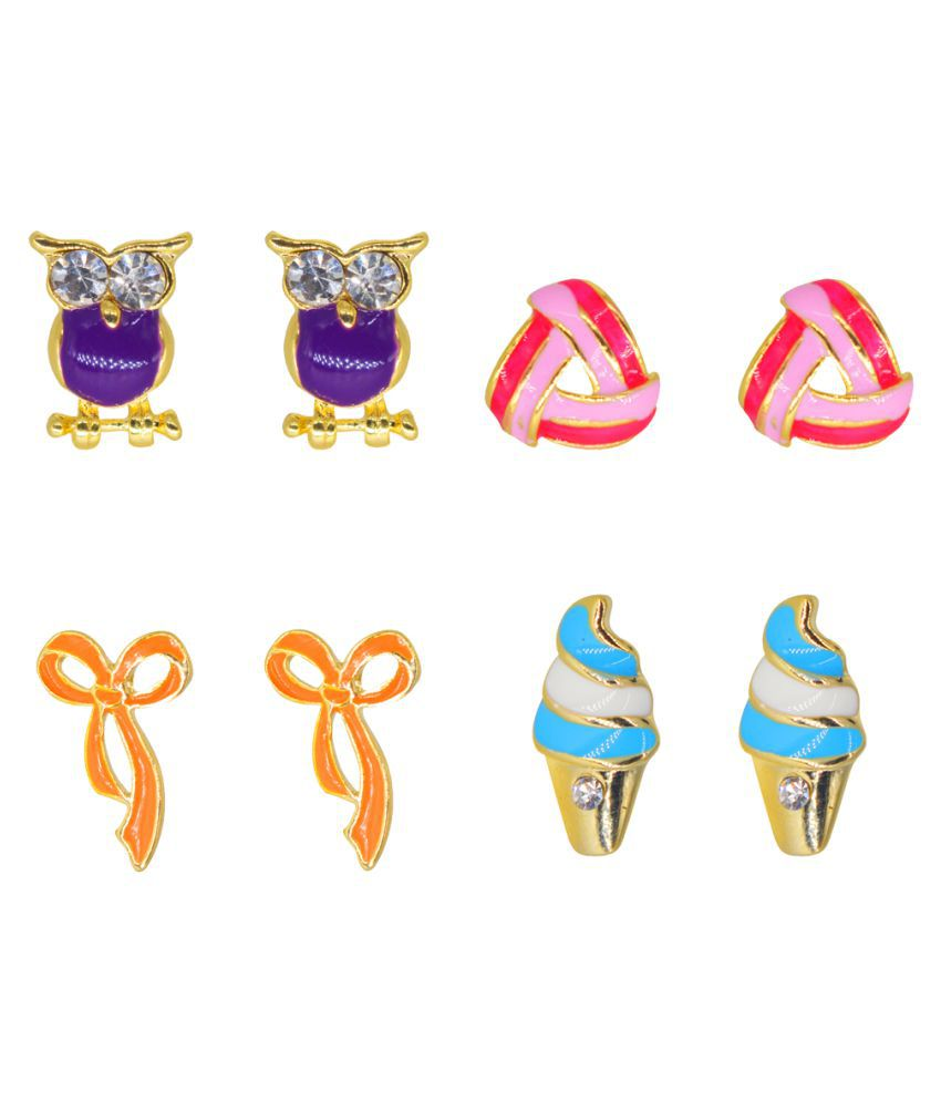 Glitters Multi Colour Enamel Earrings for Kids and Girls - Combo Pack of 4