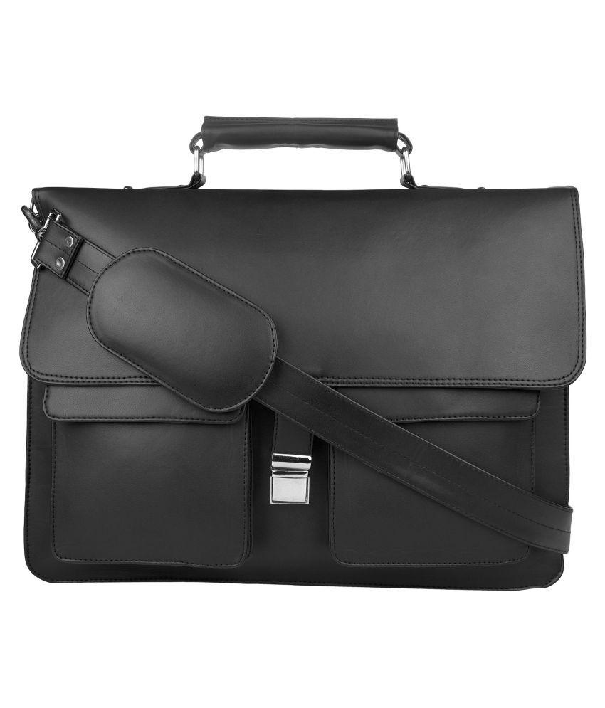 P&YFASHION Black Laptop messenger Bag Black P.U. Casual Messenger Bag
