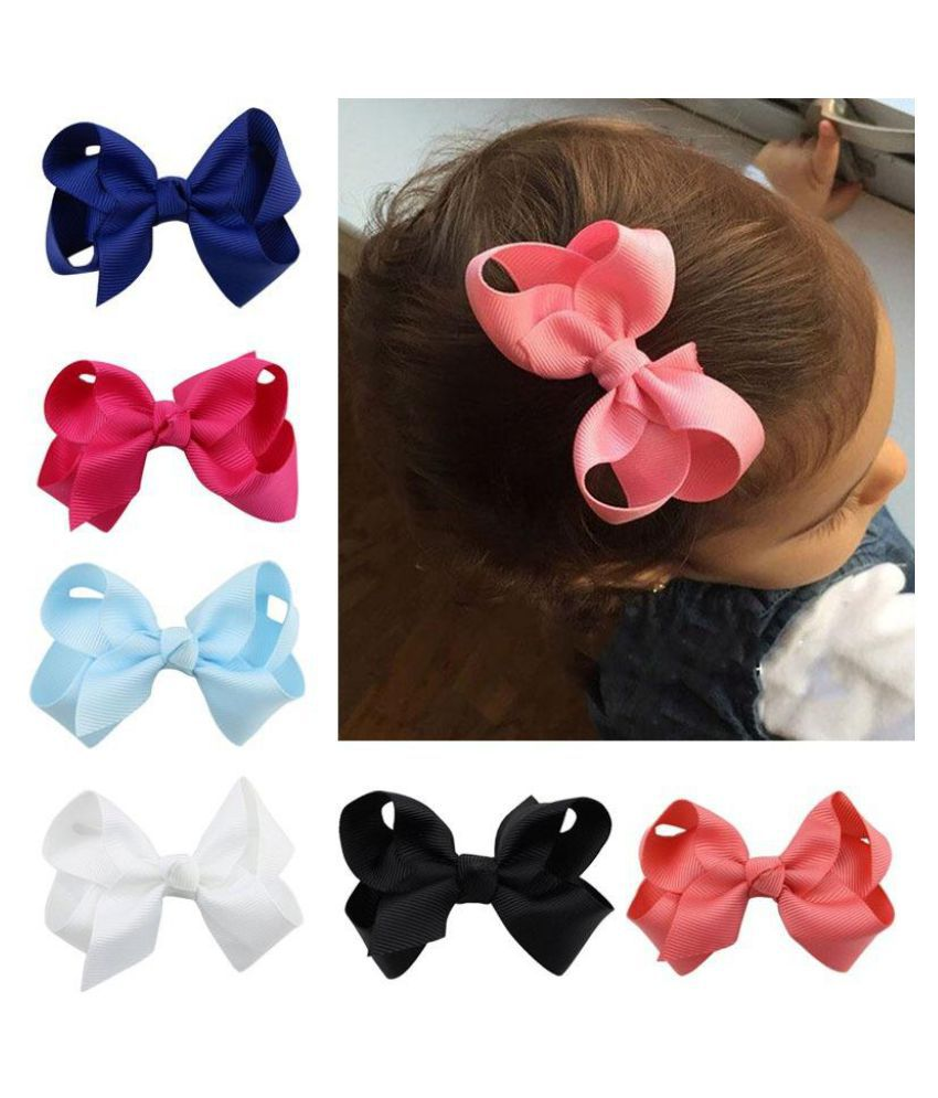 2* Girls Hair Bows Hairpin Alligator Clip Ribbon Headband Kids Hair Accessories