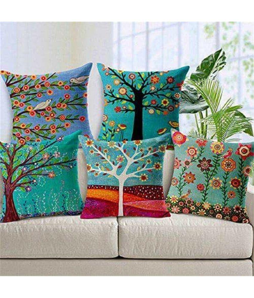 Fabzi India Set of 5 Jute Cushion Covers 40X40 cm (16X16)