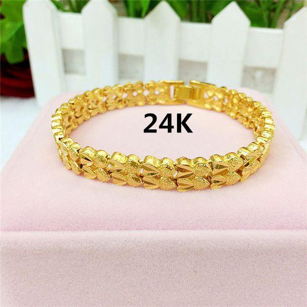 Kamalife Fashion Jewelry 24K Gold Chain Bracelets for Women or Men Fine Jewelry