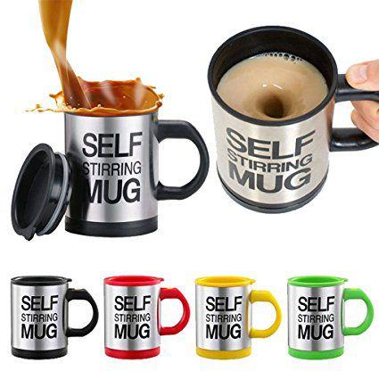Dolphy Self Stirring Coffee Mug - Capacity 350ml - Assorted Colour