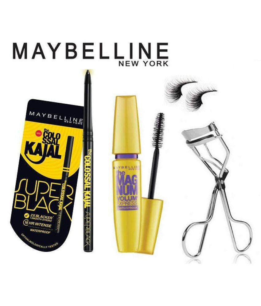 7f1fd0a3be0 Maybelline New York Magnum Volum Express Waterproof Mascara ,Super black  Kajal,Eyelashes Curler,Eyelashes Face gm: Buy Maybelline New York Magnum  Volum ...