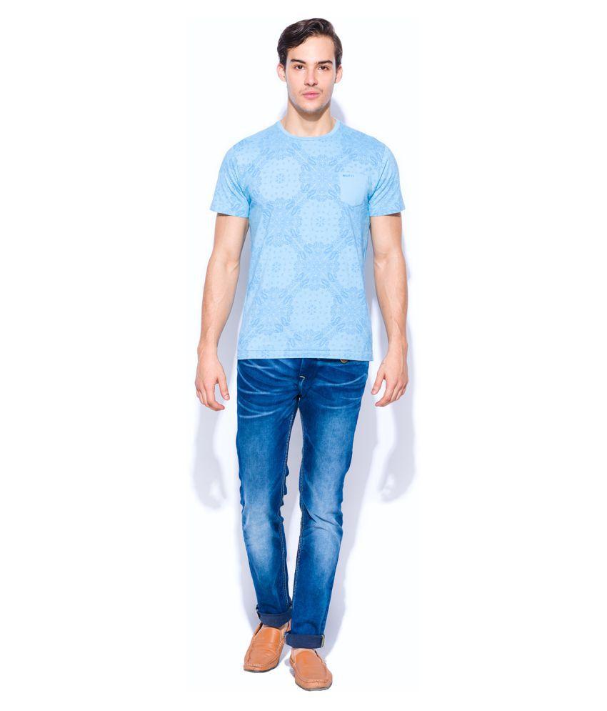 Mufti Blue Half Sleeve T-Shirt