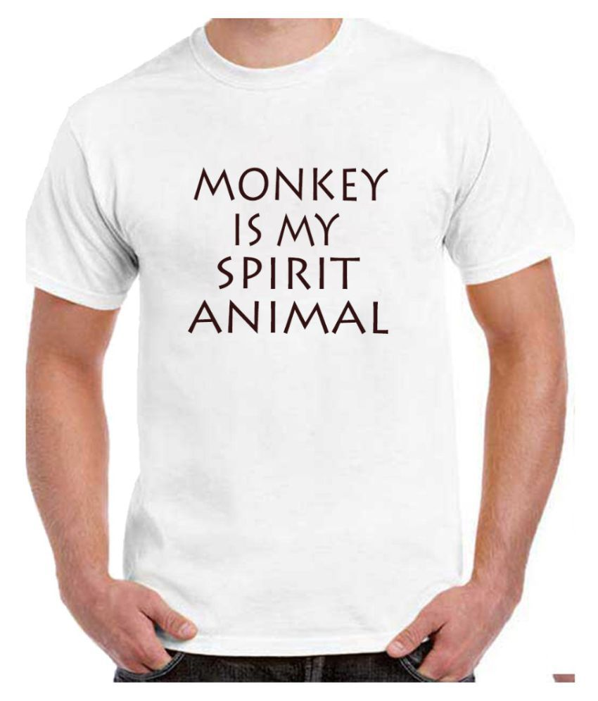 Ritzees Unisex Half Sleeve Dry Fit White Polyester T-Shirt on Monkey are My Spirit Animal