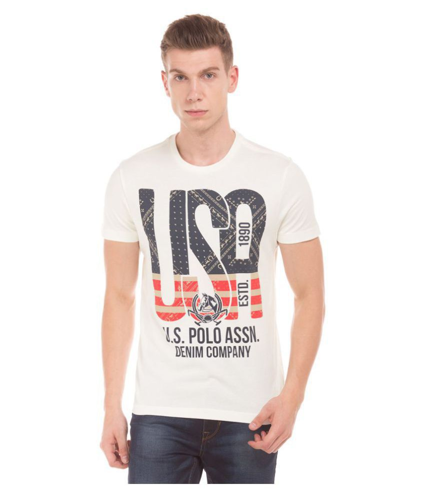 U.S. Polo Assn. White Half Sleeve T-Shirt