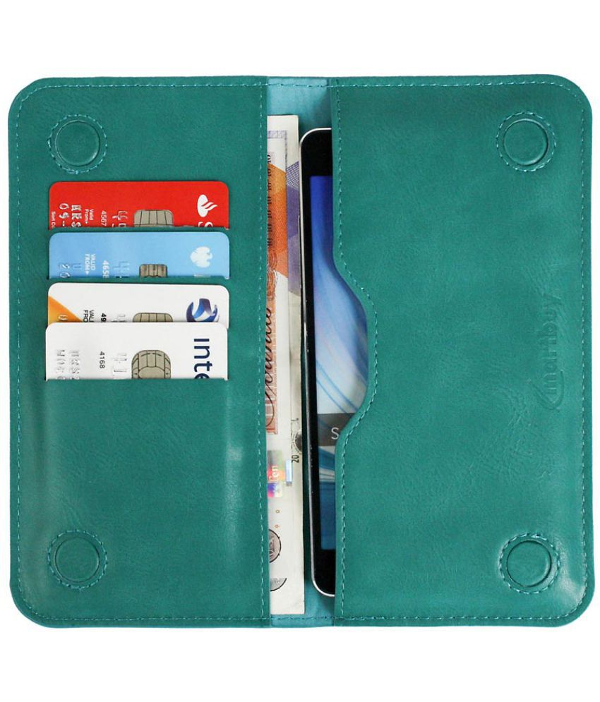 ZTE Blade X Flip Cover by Emartbuy - Blue ( Magnetic Wallet Size - LM4 ) Turquoise Plain