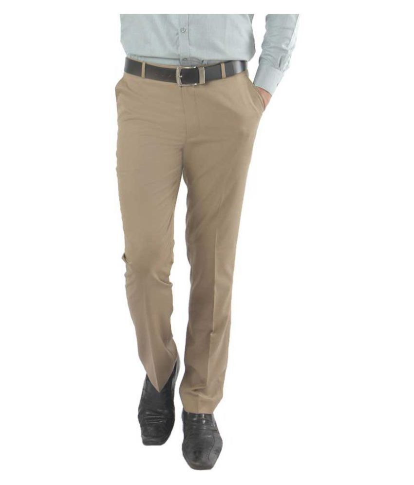 zido Beige Regular -Fit Flat Trousers