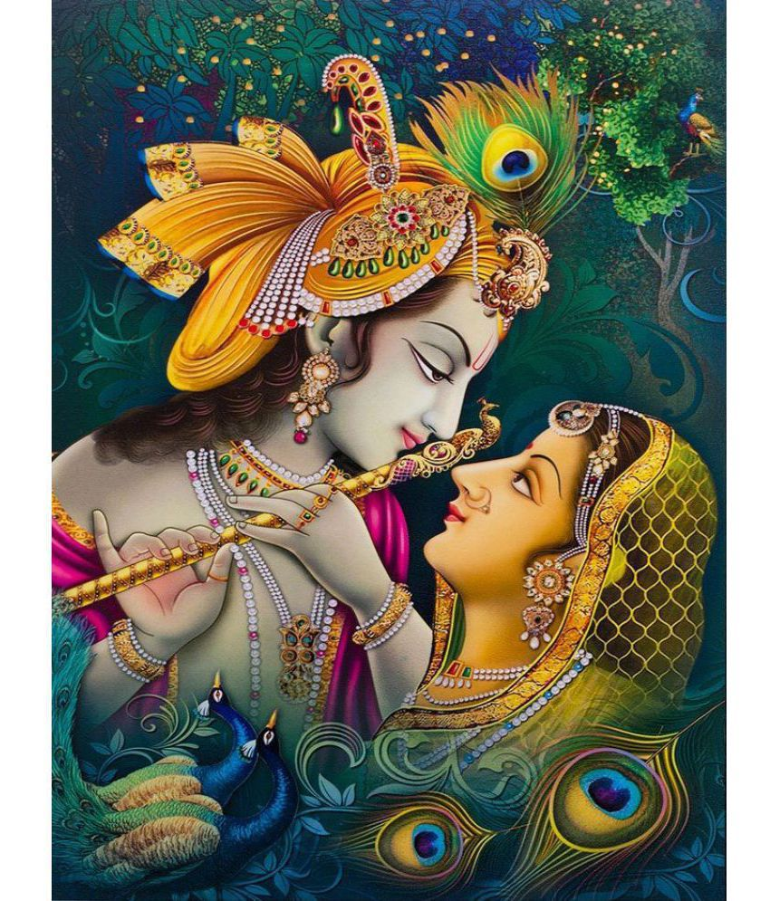 mahalaxmi art craft radha krishna paper wall poster without frame