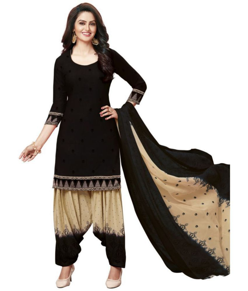 C G FASHION Beige and Black Synthetic Dress Material