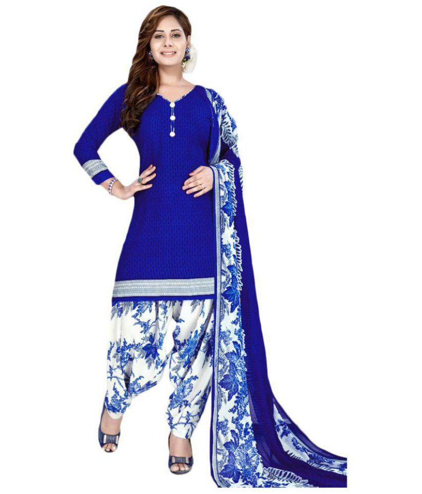 1470e65339 Giftsnfriends White,Blue Crepe Dress Material - Buy Giftsnfriends White,Blue  Crepe Dress Material Online at Best Prices in India on Snapdeal