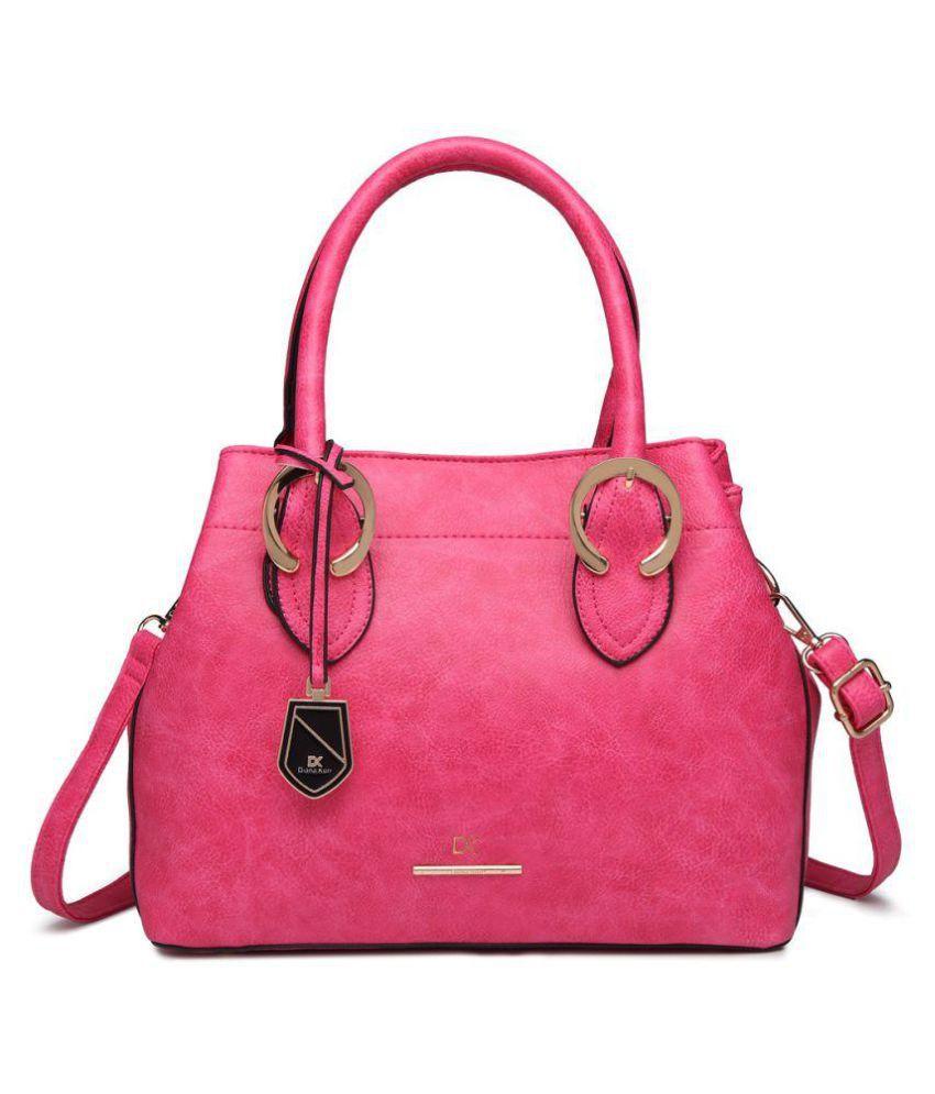 Diana Korr Pink P.U. Satchel Bag