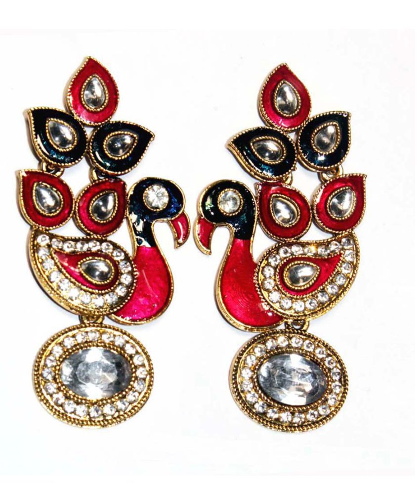Kundan Big  Peacock Shaped Pearl Earrings for Women
