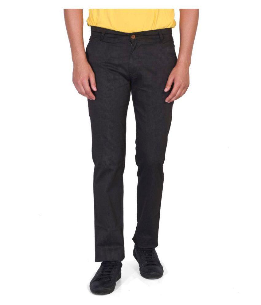 Ruace Black Slim -Fit Flat Trousers