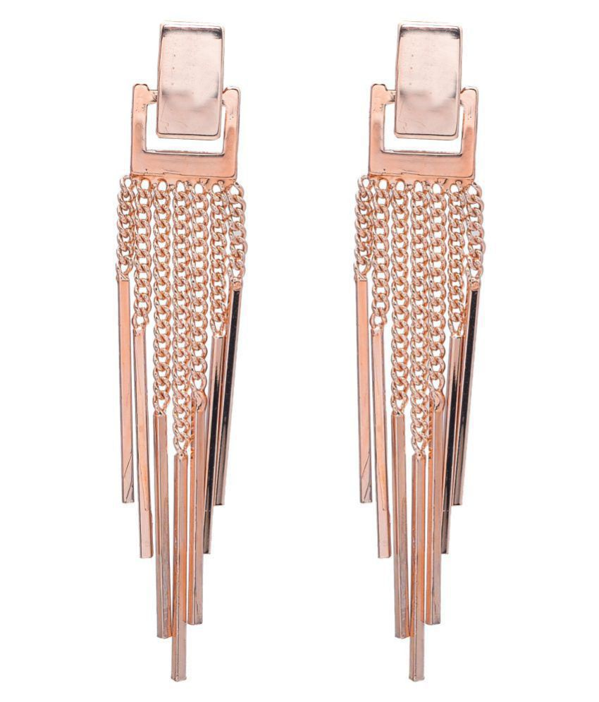 Square top gold hanging earrings with gold strings