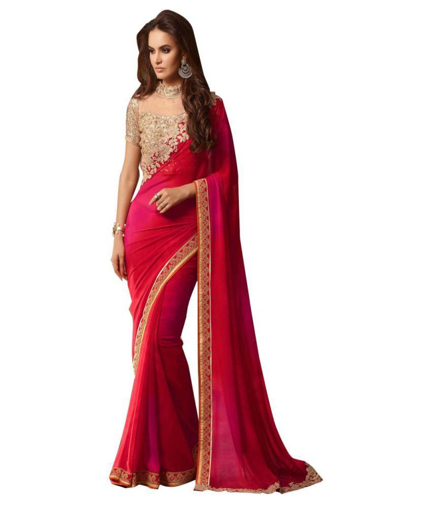 gopal fashion Red Georgette Saree